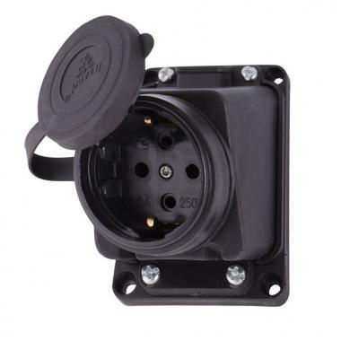 Розетка наружной установки наклонная с заглушкой IP44