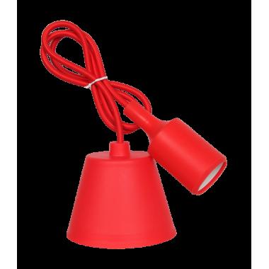 Светильник патрон Е27 силиконовый со шнуром 1м красный